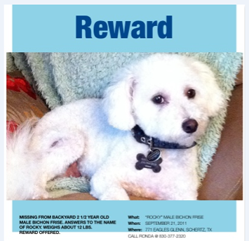 Call the owner for a reward!!! Call Ronda at 830-377-2320 or Ken McKenzie 210-599-2228.